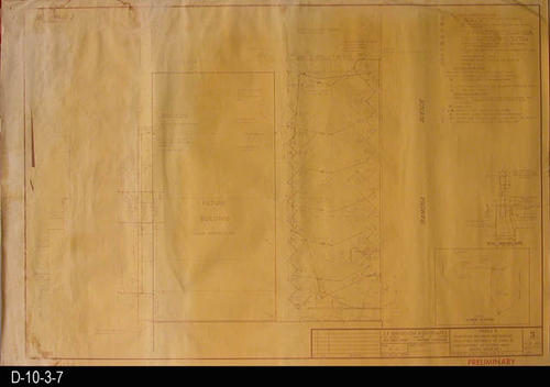 "This blueprint is for Phase 2, Change Order 1, Pedestrian Walkways and Parking Facilities Southerly of 6th St. and Easterly of Corona Mall.  A red, rubber stamp notation in the lower right indicates this plan is PRELIMINARY.   MEASUREMENTS:  36"" X 24"" - CONDITION: Water damage left side a top right hand corner.   Blueprint fully legible. COPIES:  1 - MAP ORIENTATION:  Top is NORTH."