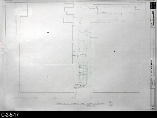"This blueprint is part of a 26 blueprint set for the Corona Mall in connection with the Corona Downtown Redevelopment Project.  MEASUREMENTS:  30"" X 42.5"" - CONDITION:  This blueprint is fully legible, but shows the wear and tear of field use.    COPIES:  1 -"
