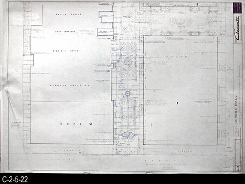 "This blueprint is part of a 26 blueprint set for the Corona Mall in connection with the Corona Downtown Redevelopment Project.  MEASUREMENTS:  30"" X 42.5"" - CONDITION:  This blueprint is fully legible, but shows the wear and tear of field use. In addition there is a crease in the lower left corner, and the bottom edge is irregularly trimmed.  - COPIES:  1 - MAP ORIENTATION: Top is NORTH."