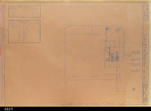 "This blueprint shows the Public Meeting Room Plumbing Plan for the second Corona Public Library that was in service from July 21, 1971 to August 8, 1991.  The library was located at 6th and Main St., the site of the present library. - MEASUREMENTS:  30 "" x 42"" - CONDITION:  Good - COPIES:  1"