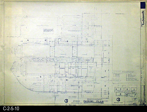 "This blueprint is part of a 26 blueprint set for the Corona Mall in connection with the Corona Downtown Redevelopment Project.  MEASUREMENTS:  30"" X 42.5"" - CONDITION:  This blueprint is fully legible, but shows the wear and tear of field use.  This print has a small tear in the right side margin.  COPIES:  1 - BLUEPRINT ORIENTATION:  Left end is NORTH."
