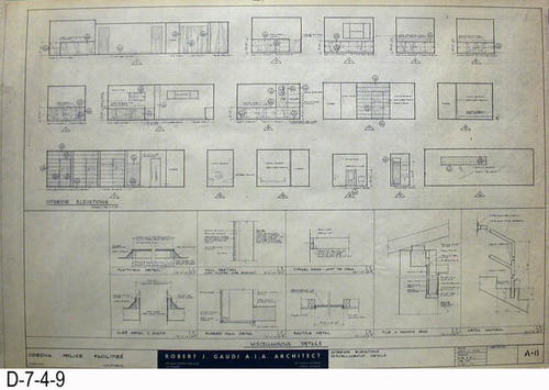 "THESE PRINTS ARE FOR VIEWING ONLY BY AUTHORIZED INDIVIDUALS:  This blueprint is for the Corona Police Facility.  Page A-8 shows INTERIOR ELEVATIONS and MISCELLANEOUS DETAILS.   MEASUREMENT:  24"" X 36.5"" - CONDITION:  Excellent condition.  Some pages have minor tears on the margin edges. - COPIES:  1."