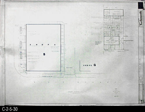 "This blueprint is part of a 26 blueprint set for the Corona Mall in connection with the Corona Downtown Redevelopment Project.  MEASUREMENTS:  30"" X 42.5"" - CONDITION:  This blueprint is fully legible, but shows the wear and tear of field use.   - COPIES:  1 - MAP ORIENTATION: Top is NORTH."