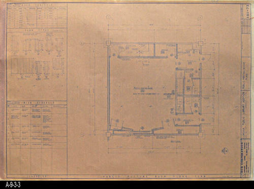 "This blueprint shows the Public Meeting Room Plan for the second Corona Public Library that was in service from July 21, 1971 to August 8, 1991.  The library was located at 6th and Main St., the site of the present library. - MEASUREMENTS:  30 "" x 42"" - CONDITION:  Good - COPIES:  1"