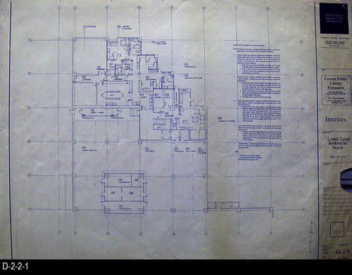 "This blueprint is for the Lower Level Bookstack North. The scale is 1/8"" = 1'.  MEASUREMENTS: 30"" X  42"" - CONDITION:  This blueprint has a 2.5"" x 3"" piece missing on the lower right side.  No information was put in this area; otherwise in very good condition - COPIES:  1."
