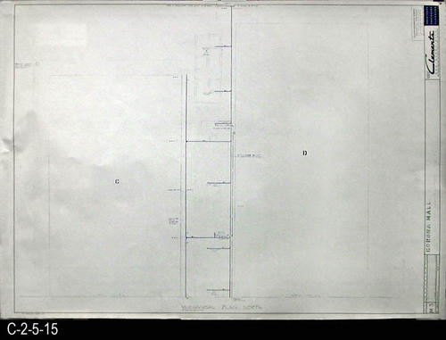 "This blueprint is part of a 26 blueprint set for the Corona Mall in connection with the Corona Downtown Redevelopment Project.  MEASUREMENTS:  30"" X 42.5"" - CONDITION:  This blueprint is fully legible, but shows the wear and tear of field use. - COPIES:  1 - BLUEPRINT ORIENTATION:  Top is NORTH."