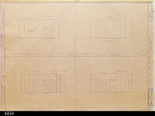 "This blueprint shows the Public Meeting Room Elevations for the second Corona Public Library that was in service from July 21, 1971 to August 8, 1991.  The library was located at 6th and Main St., the site of the present library. - MEASUREMENTS:  30 "" x 42"" - CONDITION:  Good - COPIES:  1"