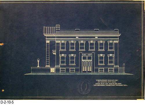 "This is a set of blueprints for the 1912 City Hall for the City of Corona, CA.  This blueprint is for the Eighth Street Elevation.  The blueprint scale is 1/8"" = 1'.  Each blueprint has the embossed seal of Leo Kroonen indicating he is a certified architect.  MEASUREMENTS:  12 1/8"" X 18 1/4"" - CONDITION:  At one time these blueprints were in a binder and have punch holes on the left side.  Some of the edges are frayed.  The legibility of the prints are excellent.  COPIES:  1 SET."