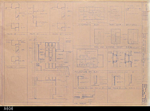 "This blueprint shows the Public Meeting Room - Miscellaneous Details Plan for the second Corona Public Library that was in service from July 21, 1971 to August 8, 1991.  The library was located at 6th and Main St., the site of the present library. - MEASUREMENTS:  30 "" x 42"" - CONDITION:  Good - COPIES:  1"