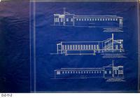Blueprint - 1925 - Corona Municipal Plunge - Leo Kroonen Architect -  3 Elevations:...