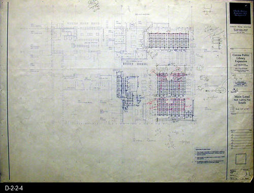 "This blueprint is for the Main Level Stack Lighting Plan South. The scale is 1/8"" = 1'.  MEASUREMENTS: 30"" X  42"" - CONDITION:   Very Good - COPIES:  1."
