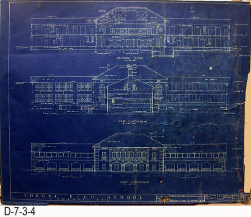 "This blueprint is Sheet 5 - Job 270 - Longitudinal Selection - Rear Elevation (North) and the Front Elevation (South). - MEASUREMENTS:  30 3/4""  x 39"" - CONDITION:  An irregular section measuring 18 1/2"" x 1"" has been trimmed from the right hand edge. On the bottom a 1/2"" x 32"" irregular section has been trimmed off the bottom. 13"" from the right hand edge an irregular tear has been taped on the bottom edge -  COPIES:  1."