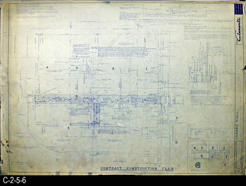 "This blueprint is part of a 26 blueprint set for the Corona Mall in connection with the Corona Downtown Redevelopment Project.  MEASUREMENTS:  30"" X 42.5"" - CONDITION:  This blueprint is fully legible, but shows the wear and tear of field use.  This print has a brown stain in the lower left hand corner and small tears in the right side margin.  COPIES:  1 - BLUEPRINT ORIENTATION:  Left end is NORTH."