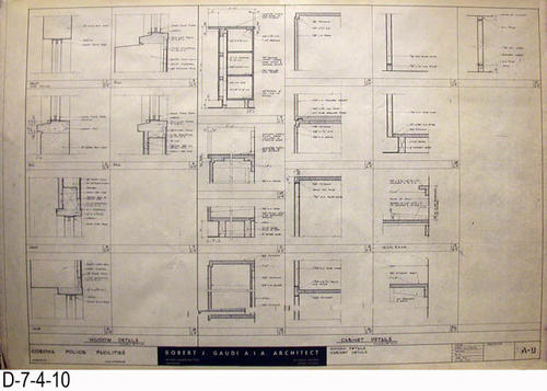"THESE PRINTS ARE FOR VIEWING ONLY BY AUTHORIZED INDIVIDUALS:  This blueprint is for the Corona Police Facility.  Page A-9 shows WINDOW and CABINET DETAILS.   MEASUREMENT:  24"" X 36.5"" - CONDITION:  Excellent condition.  Some pages have minor tears on the margin edges. - COPIES:  1."