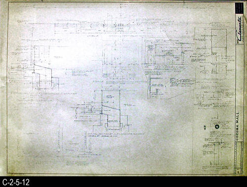 "This blueprint is part of a 26 blueprint set for the Corona Mall in connection with the Corona Downtown Redevelopment Project.  MEASUREMENTS:  30"" X 42.5"" - CONDITION:  This blueprint is fully legible, but shows the wear and tear of field use.  COPIES:  1."