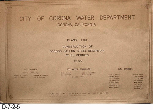 "This is the cover page for a three page blueprint set for the City of Corona Water Department.  The plans are for the construction of a 500,000 gallon steel reservoir at El Cerrito.  There are three sets of plans.  Two sets have a undated cover page and are dated October 30, 1964.  The 1965 blueprint set appears similar, and the individual pages are also dated October 30, 1964, but there are changes.  MEASUREMENTS:  24"" X 36"" - CONDITION:  Very Good - COPIES:  (1) 1965 - (2) 1964 (D-7-2-1 thru D-7-2-4)"
