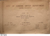 Blueprint - 1965 - 500,000 Gallon El Cerrito Reservoir - Cover Page