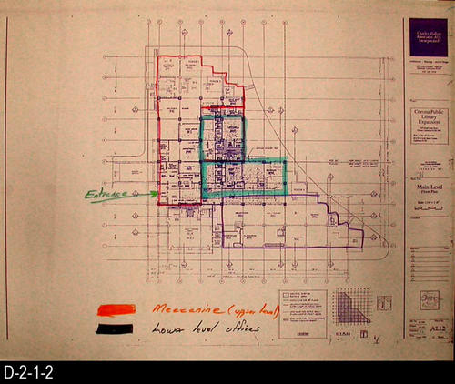 "This blueprint shows the Main Level Floor Plan.  The blueprint scale is 1/16"" = 1'.  Approved by the City of Corona Public Works Dept. 06/03/1991. MEASUREMENTS:  16.5"" X  24"" - CONDITION:  Very Good - COPIES:  2."