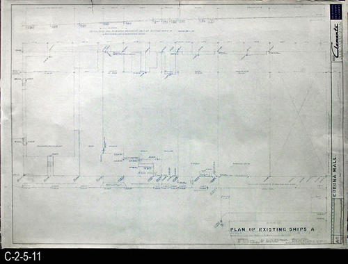"This blueprint is part of a 26 blueprint set for the Corona Mall in connection with the Corona Downtown Redevelopment Project.  MEASUREMENTS:  30"" X 42.5"" - CONDITION:  This blueprint is fully legible, but shows the wear and tear of field use. - COPIES:  1 - BLUEPRINT ORIENTATION:  Left end is NORTH."
