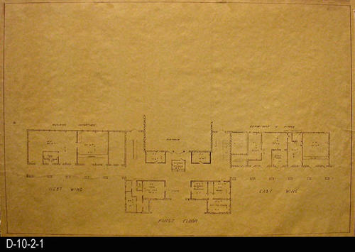 "This blueprint is part of the Corona Civic Center Master Plan.  This blueprint covers the entire first floor including the West and East Wing.  Included with the storage of this print is a two-page, carbon copy of a document dated May 1963 titled:  ""Civic Center Master Plan - City of Corona.""  MEASUREMENTS:  24"" X 36"" - CONDITION:  Very Good - COPIES:  1."