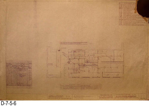 "This eight page set of blueprints was for the Phase One Alterations to the Corona Civic Center Gymnasium located at 815 W. Sixth Street.  Plans were prepared for the City of Corona, Department of Recreation.  Page E1: Electrical Plan. - MEASUREMENTS:  24"" X 36"" - CONDITION: This page has a section missing from the upper right hand corner.  Edges are frayed and have occasional tears.   - COPIES: 1."