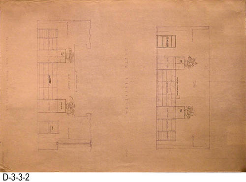 "This blueprint is for the Section End - North Elevation and South Elevation of the heritage room.  MEASUREMENTS:  21"" X 30"" - CONDITON:  Very Good - COPIES:  2."