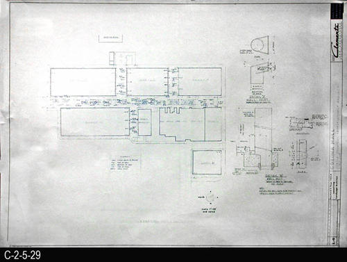 "This blueprint is part of a 26 blueprint set for the Corona Mall in connection with the Corona Downtown Redevelopment Project.  MEASUREMENTS:  30"" X 42.5"" - CONDITION:  This blueprint is fully legible, but shows the wear and tear of field use.  In addition there is a small tear in the lower right hand corner.  - COPIES:  1 - MAP ORIENTATION: Left end is NORTH."