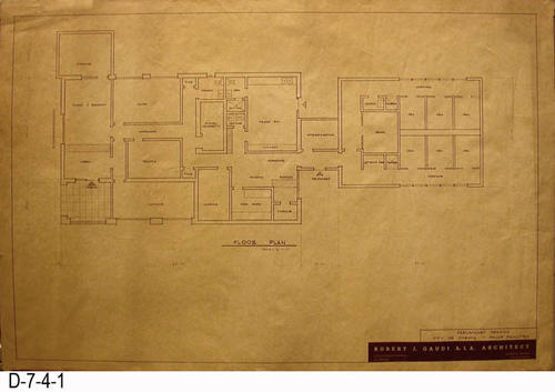 "THESE PRINTS ARE FOR VIEWING ONLY BY AUTHORIZED INDIVIDUALS: This blueprint is the Preliminary Drawing for the Corona Police Facility.  MEASUREMENT:  24"" X 36"" - CONDITION:  Excellent condition.  One small tear in the margin of the left side. - COPIES:  1."