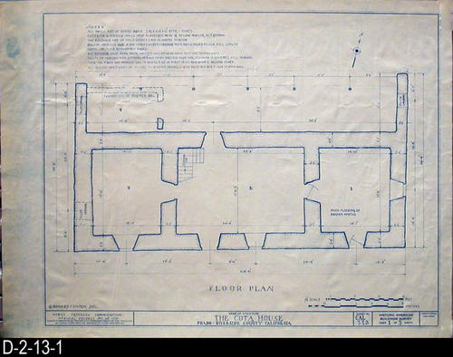 "This blueprint is a Works Progress Administration Official Project No. 65-1715 - Survey No:  CAL 332 showing the Floor Plan of the Cota House -  Prado-Riverside County, California.  MEASUREMENTS:  17 1/2"" X 23 1/4"" - CONDITION:  Very Good - COPIES:  1 Set."