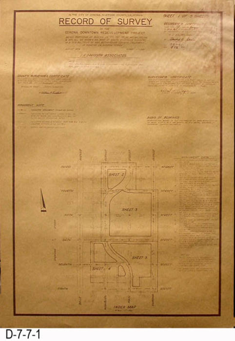 "Page one of the survey covers the following North-South Streets:  3rd, 4th, 5th, 6th, 7th and 8th.  The following are the West-East Streets and Avenues:  Belle Avenue, Washburn Avenue, Main Street, Ramona Avenue.  MEASUREMENTS:  26"" X 18"" - CONDITION:  Upper right hand corner shows evidence of water damage but does to effect the legibility of the survey. - COPIES:  1."