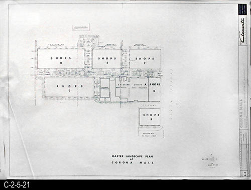 "This blueprint is part of a 26 blueprint set for the Corona Mall in connection with the Corona Downtown Redevelopment Project.  MEASUREMENTS:  30"" X 42.5"" - CONDITION:  This blueprint is fully legible, but shows the wear and tear of field use. In addition there is a crease in the lower left corner, and minor damage to the bottom margin area.  - COPIES:  1 - MAP ORIENTATION:  Left end is NORTH."