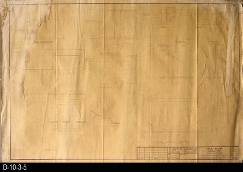 "This blueprint is for the Rest Room Facilities - Parking Lot 3 B.  MEASUREMENTS:  36"" X 24"" - CONDITION:  Water damage on the left side of the blueprint has reduced the visibility of the drawing.  A long narrow strip of water damage on the right side has severly reduced or eliminated print in that area.  Upper right hand corner has a small hole, and there is a small tear in the right margin. COPIES:  1."