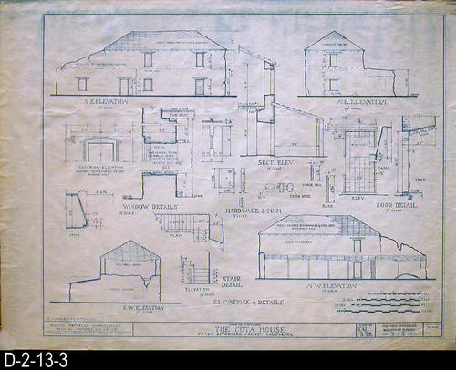 "This blueprint is a Works Progress Administration Official Project No. 65-1715 - Survey No:  CAL 332 showing the Elevations and Details of the Cota House - Prado-Riverside County, California.  MEASUREMENTS:  17 1/2"" X 23 1/4"" - CONDITION:  Very Good - COPIES:  1 Set."