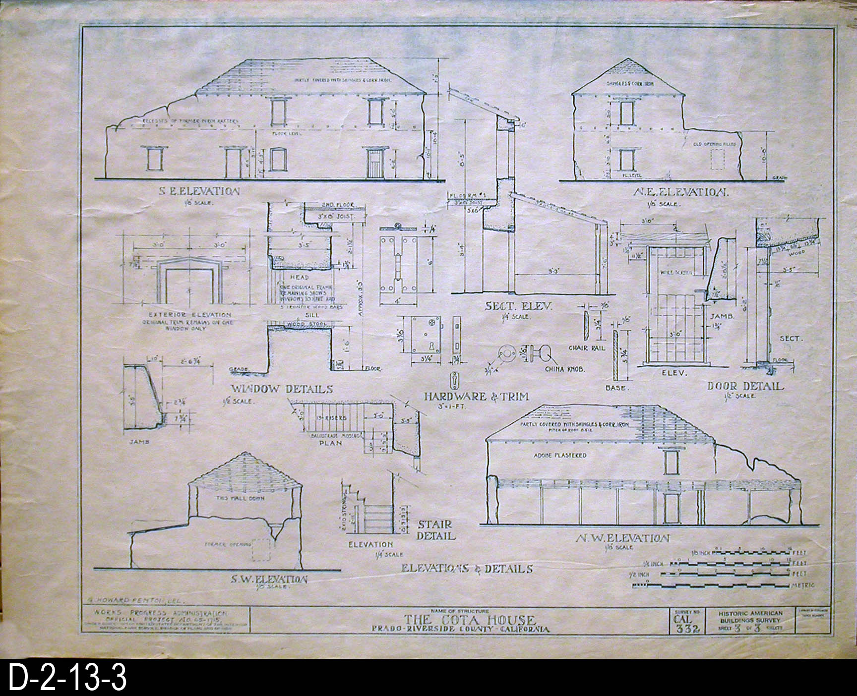 Blueprint cota house historic american buildings survey blueprint cota house historic american buildings survey elevations and details malvernweather Image collections