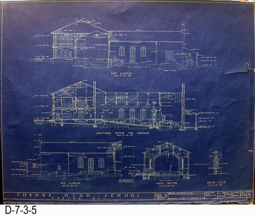 "This blueprint is Sheet 6 - Job 270 - showing various sections and elevations.  On the back in cursive writing is the name of A. M. Lewis as plumbing contractor and the Alhambra Wallpaper and Paint Co. as the painting contractor.  S. Hill and Son - Heating Contractor. Cresmer Manufacturing Co. is also listed as a sub-contractor.  - MEASUREMENTS:  30 1/2"" x 38 1/2"" - CONDITION:  There is an 5 1/2"" tear from the right edge. Also on the right edge is a tear that is 1 1/4"" x 3 1/4"" that has created a paper flap.  -  COPIES:  1."