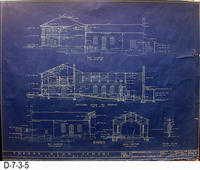 Blueprint - 1922 - Corona High School - East Elevation - Longitudinal Section...
