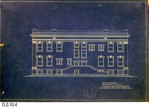 "This is a set of blueprints for the 1912 City Hall for the City of Corona, CA.  This blueprint is for the Rear Elevation.  The blueprint scale is 1/8"" = 1'.  Each blueprint has the embossed seal of Leo Kroonen indicating he is a certified architect.  MEASUREMENTS:  12 1/8"" X 18 1/4"" - CONDITION:  At one time these blueprints were in a binder and have punch holes on the left side.  Some of the edges are frayed.  The legibility of the prints are excellent.  COPIES:  1 SET."