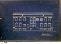 Blueprint - 1912 - Corona City Hall - Leo Kroonen - Rear Elevation