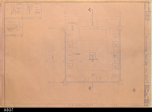 "This blueprint shows the Heritage Room Plan for the second Corona Public Library that was in service from July 21, 1971 to August 8, 1991.  The library was located at 6th and Main St., the site of the present library. - MEASUREMENTS:  30 "" x 42"" - CONDITION:  Good - COPIES:  1"