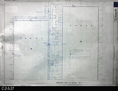 "This blueprint is part of a 26 blueprint set for the Corona Mall in connection with the Corona Downtown Redevelopment Project.  MEASUREMENTS:  30"" X 42.5"" - CONDITION:  This blueprint is fully legible, but shows the wear and tear of field use. In addition there is a small tear in the upper right end margin. - COPIES:  1 - MAP ORIENTATION: Top is NORTH."
