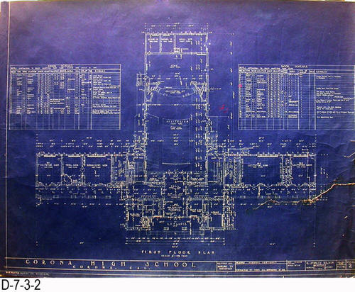 "This blueprint is Sheet 2 - Job 270 - the First Floor Plan.  On the back in cursive writing is the name of A. M. Lewis as plumbing contractor and the Alhambra Wallpaper and Paint Co. as the painting contractor.  Cresmer Manufacturing Co. is also listed as a sub-contractor.  - MEASUREMENTS:  30 1/4"" x 39"" - CONDITION:  There is an 11"" tear from the right edge that has been taped on both sides. -  COPIES:  1."