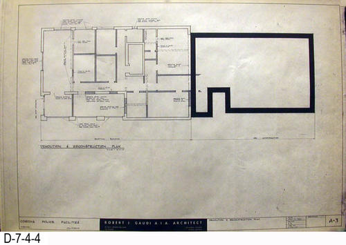 "THESE PRINTS ARE FOR VIEWING ONLY BY AUTHORIZED INDIVIDUALS:  This blueprint is for the Corona Police Facility.  Page A-3 is a DEMOLITION and RECONSTRUCTION PALN.   MEASUREMENT:  24"" X 36.5"" - CONDITION:  Excellent condition.  Some pages have minor tears on the margin edges. - COPIES:  1."