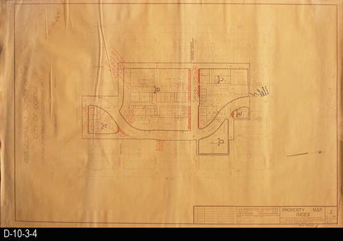 "This blueprint is a Property Map Index.  Boundary streets are:  Belle Avenue - west, 3rd St - north, Victoria Avenue - east, and 8th St. - south.     MEASUREMENTS:  36"" X 24"" - CONDITION:  Minor water damage to the upper left, upper right, and the lower right hand corners.  Staple-pin holes in the corners and a slight tear in the left margin.  COPIES:  1 - BLUEPRINT ORIENTATION:  Top is NORTH."