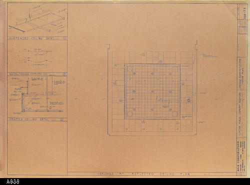 "This blueprint shows the Heritage Room Reflected Ceiling Plan for the second Corona Public Library that was in service from July 21, 1971 to August 8, 1991.  The library was located at 6th and Main St., the site of the present library. - MEASUREMENTS:  30 "" x 42"" - CONDITION:  Good - COPIES:  1 (Note:  A single copy of the blueprint is also located a A-6-2-12.)"