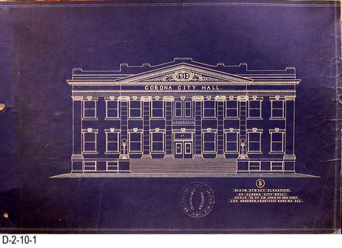 "This is a set of blueprints for the 1912 City Hall for the City of Corona, CA.  This blueprint is for the Main Street Elevation.  The blueprint scale is 1/8"" = 1'.  Each blueprint has the embossed seal of Leo Kroonen indicating he is a certified architect.  MEASUREMENTS:  12 1/8"" X 18 1/4"" - CONDITION:  At one time these blueprints were in a binder and have punch holes on the left side.  Some of the edges are frayed.  The legibility of the prints are excellent.  COPIES:  1 SET."