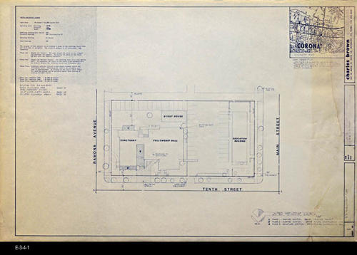 "This is sheet 1 of 7 of the United Methodist Church Enhancement Plan to enhance three areas of their facility that are either deficicent or unsightly.  Sheet 1 is the Site Development Plan. - MEASUREMENTS:  24"" X 36"" - CONDITION:  Good.  There is a slight trace of a stain near the right edge of the print. - COPIES:  1."