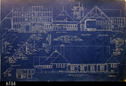 "This blueprint is the Rear Side Elevation of the Woman's Improvement Club. In addition to the elevation, the blueprint also shows other architectural details.  At the bottom of the blueprint, right after the words, "" Rear Side Elevation,"" written in black are the words, "" The Woman's Improvement Club - Corona."" Hollaway and Mussenter was the contractor for the building. - MEASUREMENTS:  23 3/8"" X 36 1/2"" - CONDITION:  This blueprint is in a protective sleeve.  There is a small tear and piece missing on the right edge.  These do not compromise the blueprint's details. - COPIES:  1."
