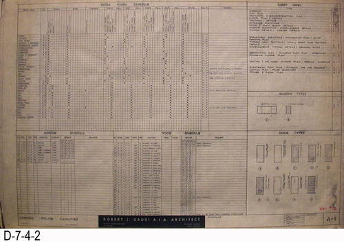 "THESE PRINTS ARE FOR VIEWING ONLY BY AUTHORIZED INDIVIDUALS:  This blueprint is for the Corona Police Facility.  Page A-1 shows SCHEDULES.   MEASUREMENT:  24"" X 36.5"" - CONDITION:  Excellent condition.  Some pages have minor tears on the margin edges. - COPIES:  1."