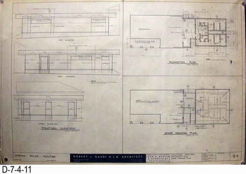 "THESE PRINTS ARE FOR VIEWING ONLY BY AUTHORIZED INDIVIDUALS:  This blueprint is for the Corona Police Facility.  Page S1 shows STRUCTURAL ELEVATIONS:  FOUNDATION and ROOF.   MEASUREMENT:  24"" X 36.5"" - CONDITION:  Excellent condition.  Some pages have minor tears on the margin edges. - COPIES:  1."