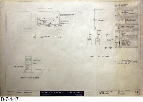 "THESE PRINTS ARE FOR VIEWING ONLY BY AUTHORIZED INDIVIDUALS:  This blueprint is for the Corona Police Facility.  Page E1shows the Electrical Plot Plan - Symbols - On Line Diagram.   MEASUREMENT:  24"" X 36.5"" - CONDITION:  Excellent condition.  Some pages have minor tears on the margin edges. - COPIES:  1."